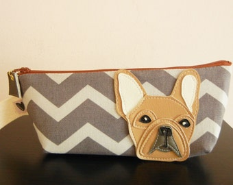 Nuri the French Bulldog Grey Chevron Stripes Vintage Inspired Cotton Canvas Case with Vinyl Applique