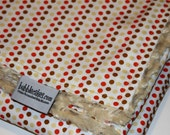 Orange Brown Cream Dot Custom Baby Blanket - Personalized Polka Dots Minky Baby Blanket