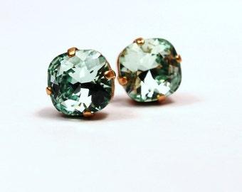 Mint Green Crystal Stud Earrings Classic Sparkling Seafoam Celadon Pastel Solitaire Swarovski 10mm Sterling Post & Copper Women's Jewelry