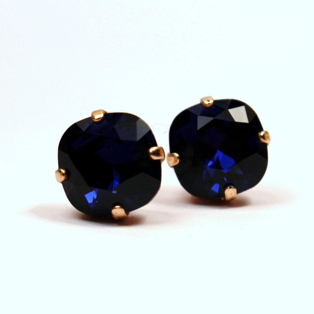 navy blue stud earrings classic sparkling