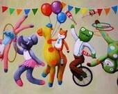 """14""""x20"""" Circus Parade of BlaBla Knit Toys Print Nursery Art"""