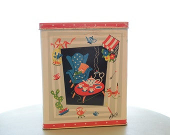 Vintage 1950s Knitting and Tea Tin 12 MB Container Great Britain