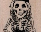 Halloween Rubber stamp Gnome Lady Skeleton  cling stamp, unmounted or wood Mounted  scrapbooking supplies 19511 hobbit