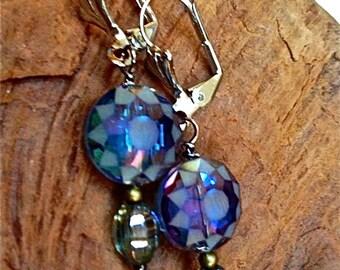 Crystal drop earrings pierced Czech crystals flower cut bevel blue green silver plate ear wires   tateam