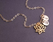 Gold Lotus Necklace, Personalized Yoga Jewelry Gift, Gold Lotus Flower Necklace with Om Charm
