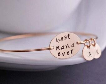 Gold Personalized Nana Bracelet, Nana Jewelry Gift, Personalized Jewelry, Nana Bangle Bracelet, Christmas Gift for Nana