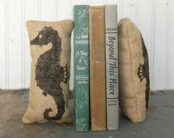 Seahorse - Petit Burlap Pillow Pair - Unique paper weight, bookends, pin cushion, etc - Nautical Decor - Beach Cottage - Coastal