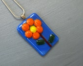Fused Glass Daisy Flower Pendant, Blue Flower Pendant, Small Glass Pendant, Orange Flower Pendant - Glass Daisy Pendant