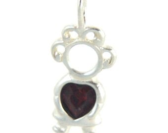 Sterling Silver Birthstone Baby Girl Charms/Pendants - Months January through December