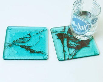 Bird Fused Glass Coaster 2-pack