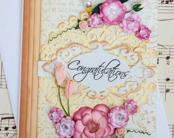 Beautiful Floral Wedding Card with inside sentiment, three dimensional paper flowers, and beaded stick pin