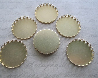 Cabochon Settings 28mm Bezel Round Lace Edge Brass Findings on Etsy x 6