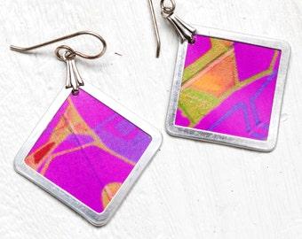 graffiti photo earrings - pink - lightweight photo earirngs
