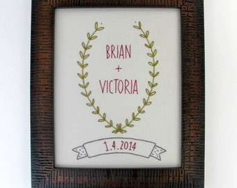 wedding custom embroidery pattern -- vine frame and banner