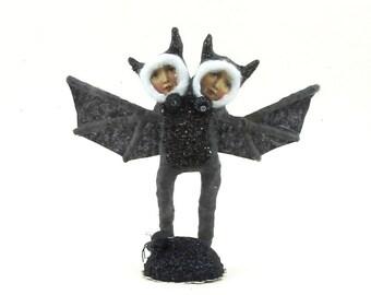 Spun Cotton Vintage Style Siamese Bat Children Figure