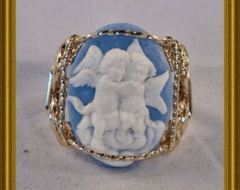 Rolled Gold Blue Cherub Cameo Ring