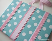 HAIRBOW HOLDER Fabric handmade - Hair Bow Holder - Personalized Hair Bow Holder ...Aqua pink white ribbon Free Ship