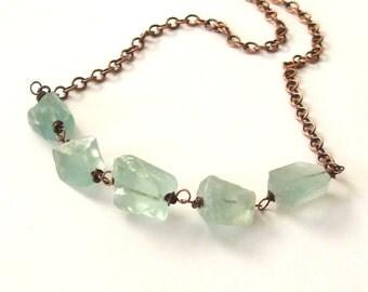 Green Fluorite Nugget Necklace, Copper Chain, Seafoam, Mint, Ice Green, Hammered Fluorite, Raw Fluorite Necklace