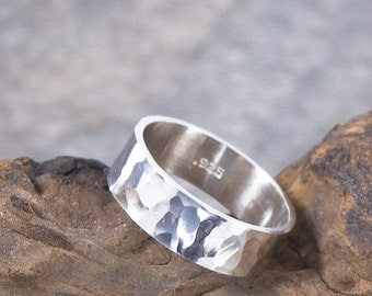 Wide Sterling Silver Ring, Hammered or Textured Unisex Ring, 6 mm wide