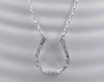 Silver Lucky Horseshoe Necklace, Horse Shoe Pendant