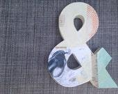"""8"""" Collaged Paper Mache Ampersand"""