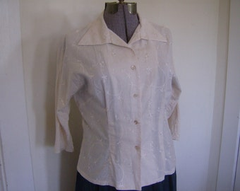 Beige Embroidered Retro Blouse, 50's Italian Style Blouse, 50's Retro blouse, Rockabilly Style