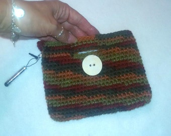 Crochet Cell Phone Bag, fall color cell phone cozy
