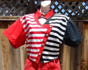 SALE NWOT Vintage 80s Patriotic Red White and Black Short Cropped Cotton Shirt Panhandle Slim M