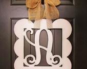 Custom MONOGRAM Square w/ Scalloped Edge/door hanger/Wall hanging/nursery wall hanging/24 inch/chevron/wooden/wedding gift/door decor/mantle