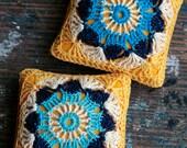 Linen  pincushion - crochet motif - yellow and turquoise