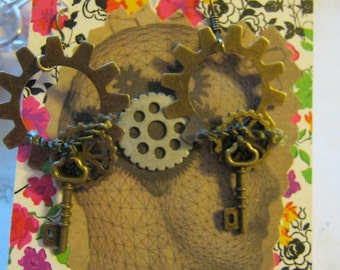 Gold Gear and Key Steampunk Chandelier Earrings