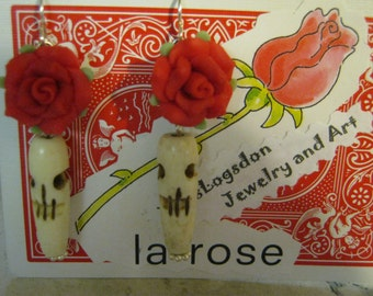 Day of the Dead Long Skull Rose Earrings