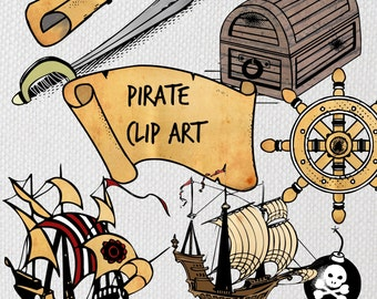 Instant download digital clip art - High resolution Pirate clip art images, B&W and color