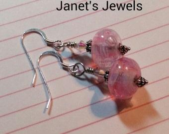 Pink Lampwork Sterling Silver Swarovski Bali Earrings Handmade glass
