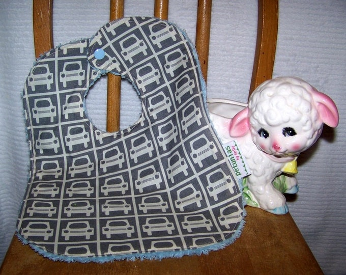 SALE Chenille Bib gray cars snap absorbent gift baby toddler by PETUNIAS