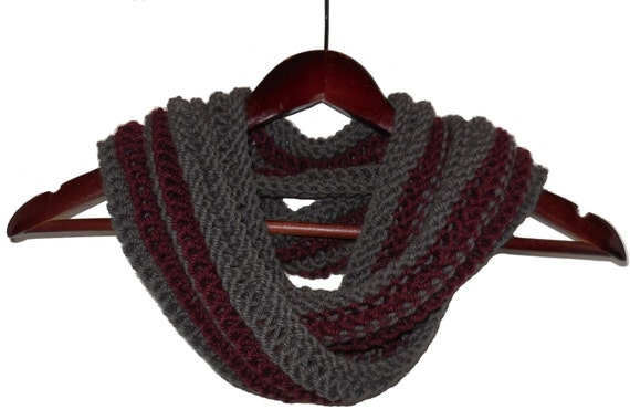 Red and Gray Infinity Loop Wool and Alpaca Scarf - Warm Hand Knit Moebius