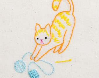 Knitty Kitty hand embroidery pattern with iron on transfer - printed