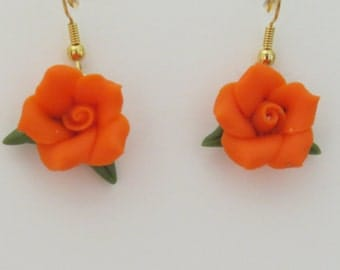 Orange Cold Porcelain Floral Dangle Earrings