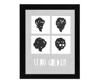 Golden Girls Hand Cut  Silhouette Minimal / Modern / Wall Art
