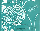 "Stencil Stencils Pattern Template ""Big Flower"" 6 inch/15 cm, reusable, adhesive, flexible, for polymer clay, fabric, wood, glass, cards"