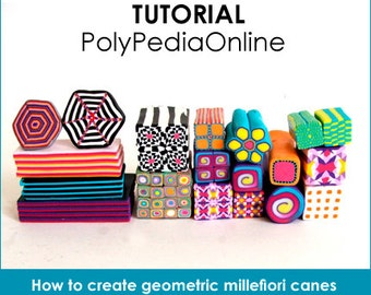 Polymer clay tutorial, Polymer clay GEROMETRIC millefiori canes tutorials, How to polymer clay canes, Millefiore |  33 pages PDF | Vol 7