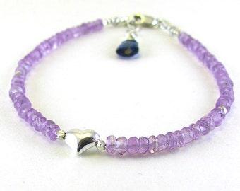 Pink Amethyst Bracelet Sterling Silver Heart Bracelet Holiday Sale Rose de France Beaded Gemstone Bracelet February Birthstone Jewelry