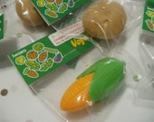 Farm Birtday Party Favors Vegetable Erasers PVC-Free, Made in Japan Garden Party Veggies, Play, Yellow Corn, Squash, Potato & Carrots!