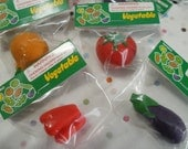 Garden Birtday Party Favors Vegetable Erasers PVC-Free, Made in Japan Fresh Veggies, Play, Tomato, Red Pepper, Egg Plant and Onions!