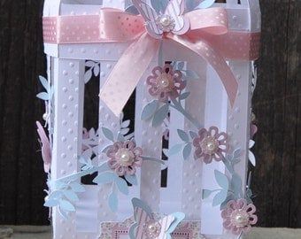 Birdcage Centerpiece with Butterflies and Flowers