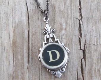 Letter D  Vintage Typewriter Key  Drop Necklace