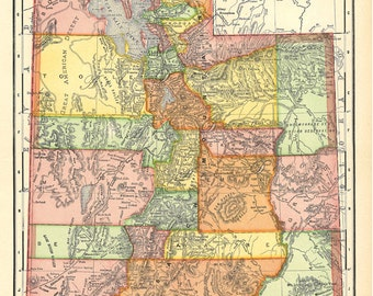map of Utah from 1904, a vintage printable digital image, no. 754