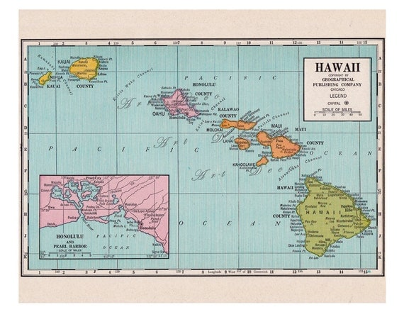 old map of Hawaii from the 1920's, a colorful and bright printable digital map no. 510.