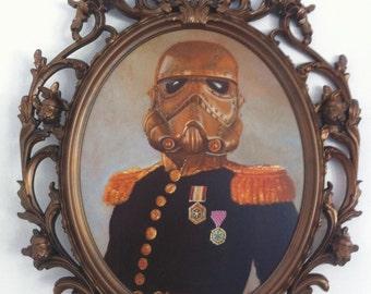 Czar Wars Steampunk StormTrooper Original Oil Painting in Custom Bronze Stormtrooper Frame