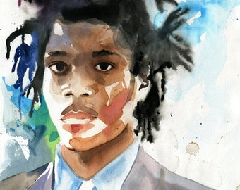 Basquiat Art  Original Painting Black Man Figurative Watercolor Artist Portrait